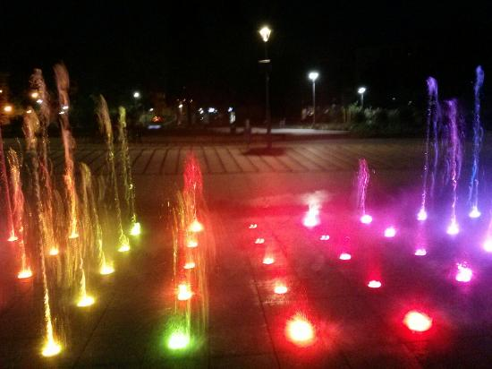 Fountain in Rybnik: LED Illuminated Rybnik fountain and night and St. Anthony Basilica in the background (Rybnicka f