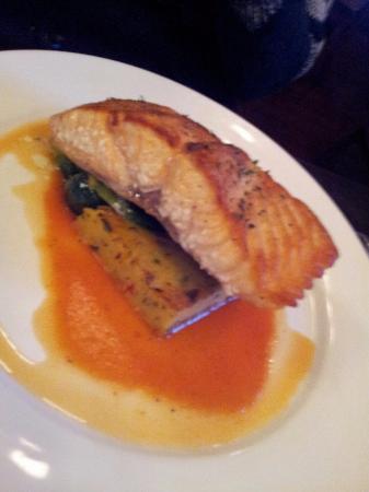 Cafe Bleu: Farmed Atlantic salmon fillet on brussels sprouts and polenta