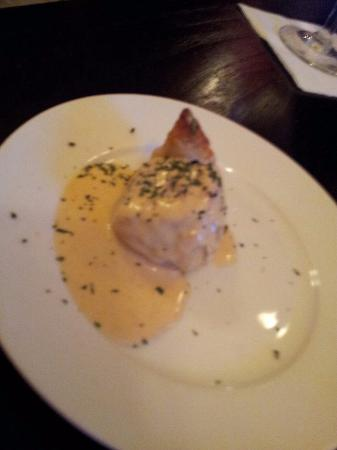 Cafe Bleu: Amuse bouche of beef tenderloin in puff pastry in dijon sauce