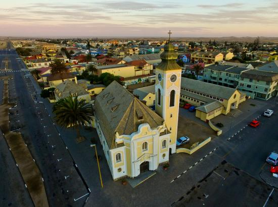 German Evangelical Lutheran Church Aerial View Taken By Drone Of In Swakopmund