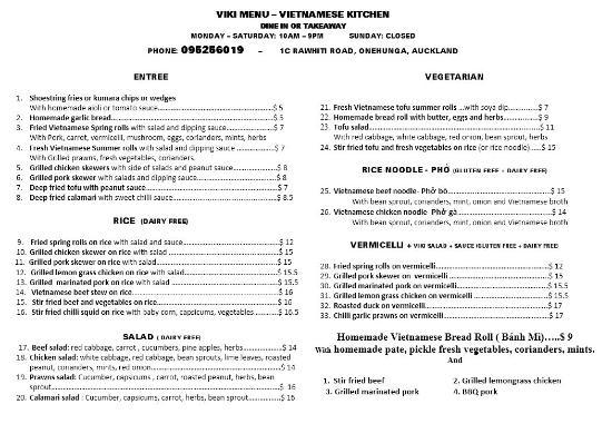 Onehunga, Yeni Zelanda: Viki cafe menu 18-02-16