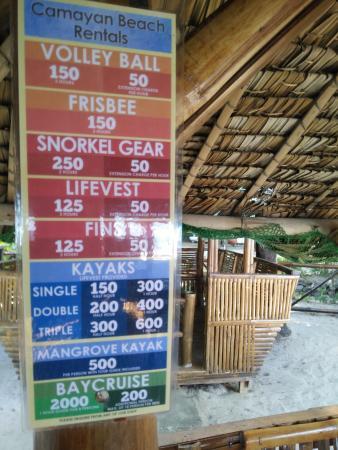 Camayan Beach Resort and Hotel: rental fees as advertised