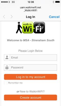 Strensham, UK: WiFi login screen