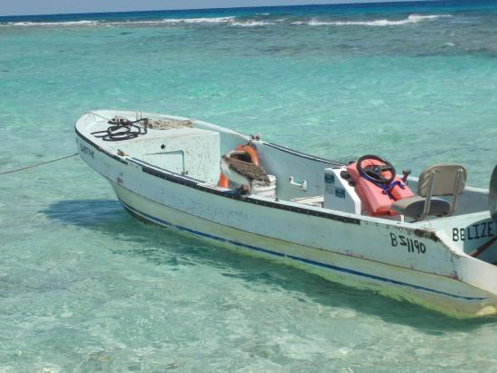 Boat At Dock On Goff S Cay Clear Water Picture Of Ecological Tours Amp Services Belize City