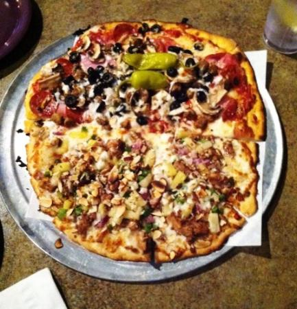 Bullman's Pizza of Billings: Large - 1/2 Chicken Teriyaki and 1/2 Flathead