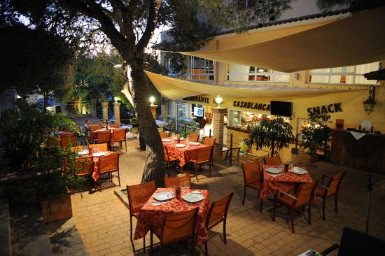 Playa Ferrera Apartments Restaurant Terrace At Night