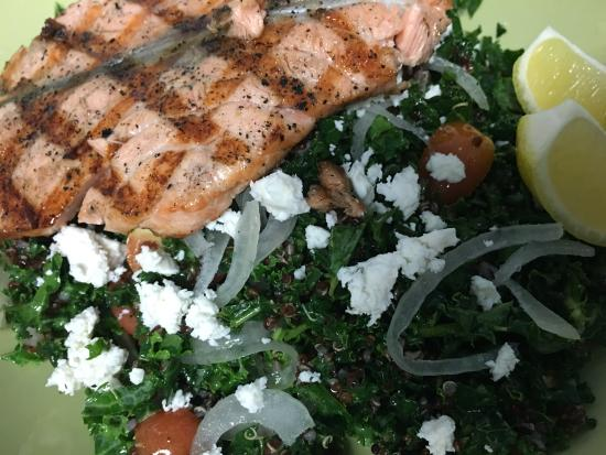 Fishnet: Grilled Salmon with Kale Salad