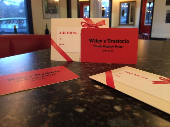 Wiley's Trattoria: Gift cards available