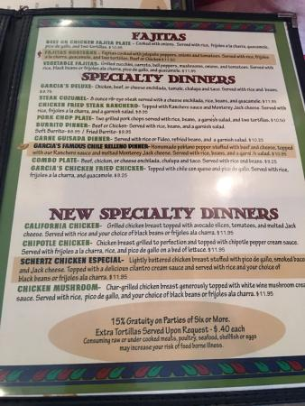 Menu Picture Of Garcias Mexican Restaurant Schertz Tripadvisor