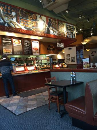 Corner Bakery Cafe: The counter where you place your order.