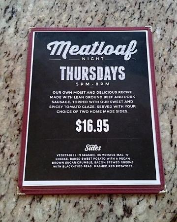 Santa Paula, CA: Special Meatloaf Thursdays menu