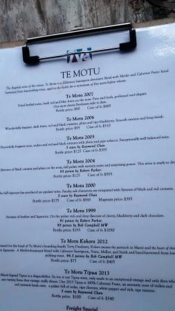 Waiheke Island, New Zealand: One page of their extensive wine menu