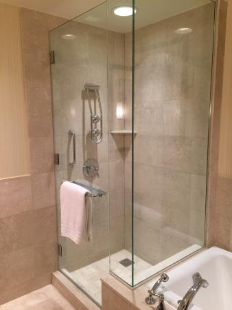Conrad Indianapolis: Full Size Shower With Huge Double Shower Head That  Converts To A Waterfall