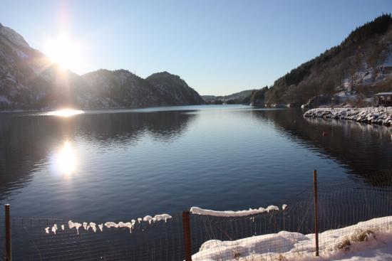 Grimen Camping: Uitzicht buiten de hut in de winter