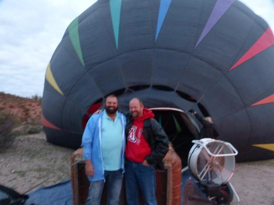 Fleur de Tucson Hot Air Balloon Rides: Gary and I in front of the balloon while it is inflating
