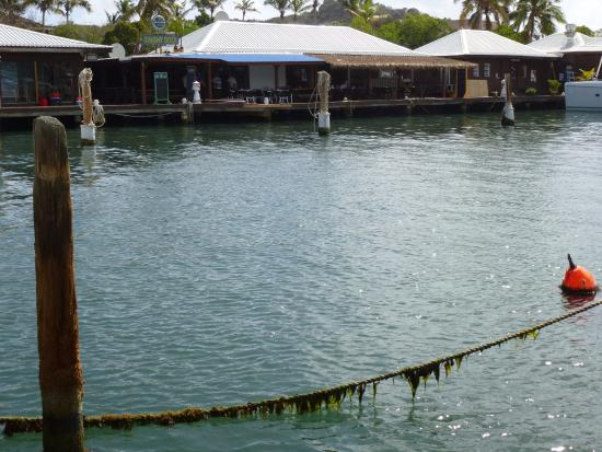 Oyster Pond, St. Martin/St. Maarten : Dinghy Dock and Lucky Bistro