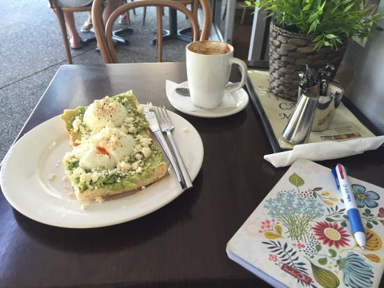 The Old Danube European Cake & Coffee Shop: The avocado smash with poached egg and feta. Breakfast items til 2pm Sat, 3pm weekdays.