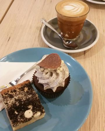 Inglewood, Australia: Almond milk long mac; oreo cupcake; cookies and cream blondie; peanut butter brownie