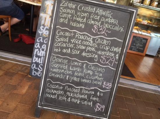 Sunny's at Moffat: The special board menu