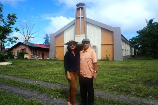 Bulusan, Philippines: infront of the newly renovated Church of the St. James The Greater Parish