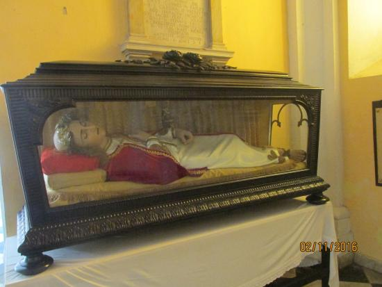 Wax statue of St, Pio - Picture of Cathedral of San Juan Bautista ...