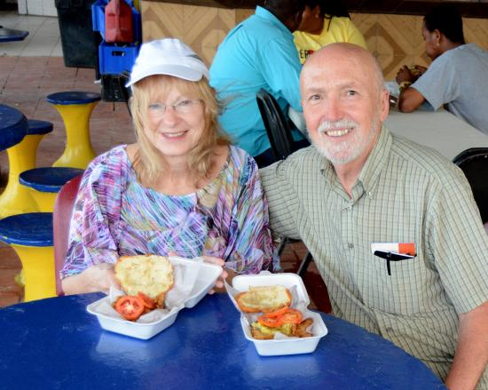 Maracas Bay, Тринидад: Kathy & I enjoying our lunch.