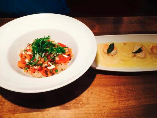 Cactus Club Cafe: 1/2 each of Jambalaya and Butternut Squash Ravioli with shrimp. The restaurant split it for us