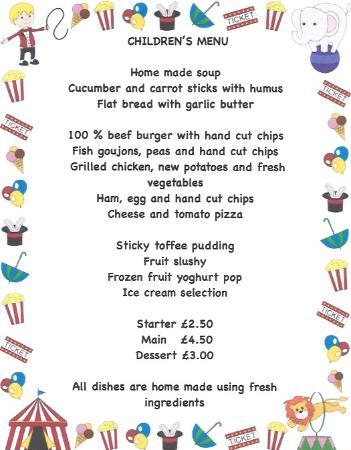 Children menu picture of the terrace restaurant for The terrace restaurant menu