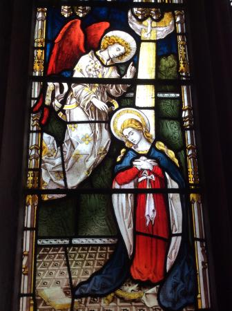 Crediton, UK: Annunciation from Lady Chapel window