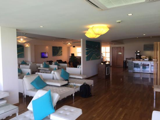 Rangali Island: The Conrad lounge at Male, prior to boarding the seaplane.