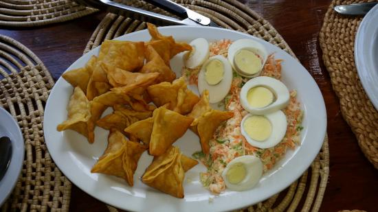Moriah, Tobago: Salt fish wontons - unbelievably good!