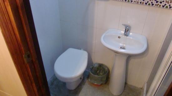 Pensión El Hidalgo: トイレと洗面台