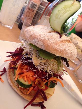 Raw Energy Coolum: Lentil and macadamia burger on GF bun.