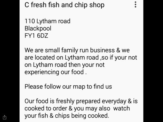 C Fresh Fish and Chips: Make sure your at the right Cfresh on lytham road