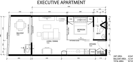 Ramada Suites Zen Quarter Executive Apartment Floorplan