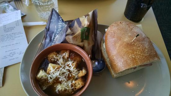 Panera Bread: Half an italian and onion soup. Very good soup solid sandwich
