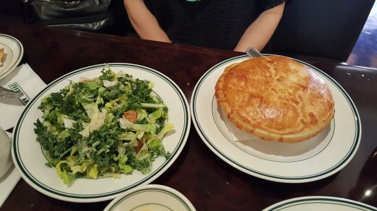 Daily Grill - Burbank Marriott Hotel: Half order salad and chicken pot pie