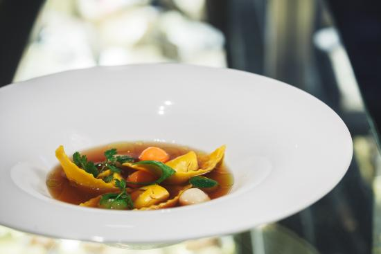 Beef Consommé with cappelletti and vegetable spheres