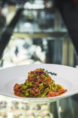 Green Tagliatelle and rabbit ragout