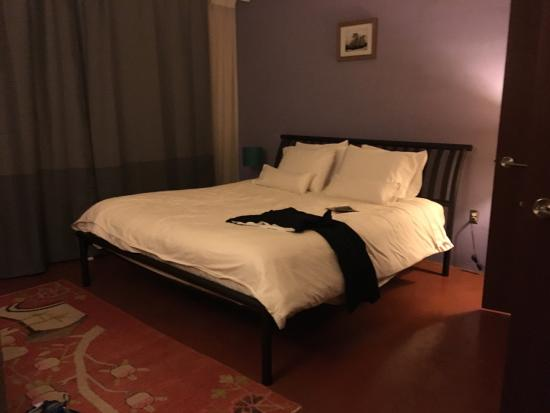 Inn at The Black Olive: This is what our room looked like..  This place boasts itself as a four-star hotel. Not even clo