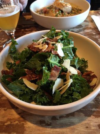 Village TeaRoom : Kale Salad with Maple Bacon (and maple bacon vinaigrette)