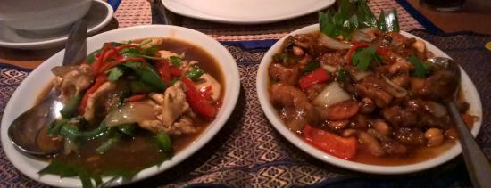 Bahn Thai: Chicken with chilli & holy basil, Chicken & cashew nuts.