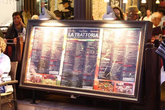 Trattoria da Rafaello: Matsedel utanför