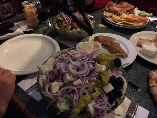Green Lantern Lounge: $10 salad - HUGE - wife ate about 1/10th...notice my personal salad in the background... :)