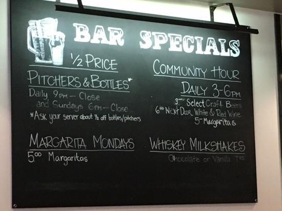 Next Door: Bar specials