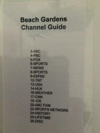 TV Channel List - Picture of Beach Gardens, Fort Lauderdale