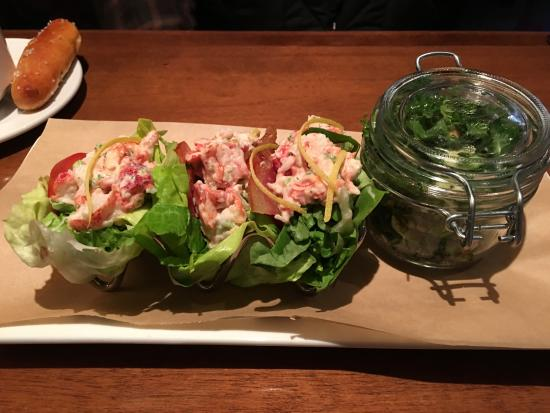 Seasons 52: lobster tacos with kale salad side