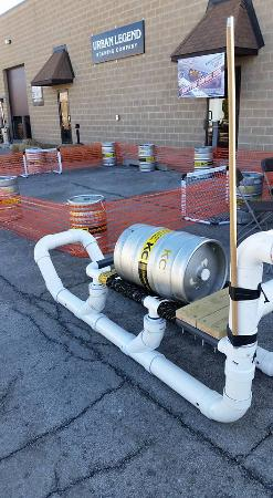 Westmont, IL: Beer can hockey rink & Sled pulling- beer keg