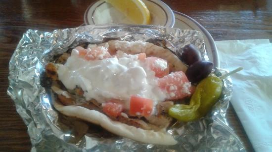 Olympia Kebob House & Taverna: Souvlaki on a pita with tzatziki sauce... lip smacking good!