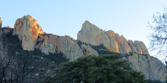 Cave Creek Canyon: Evening sun hitting canyon walls